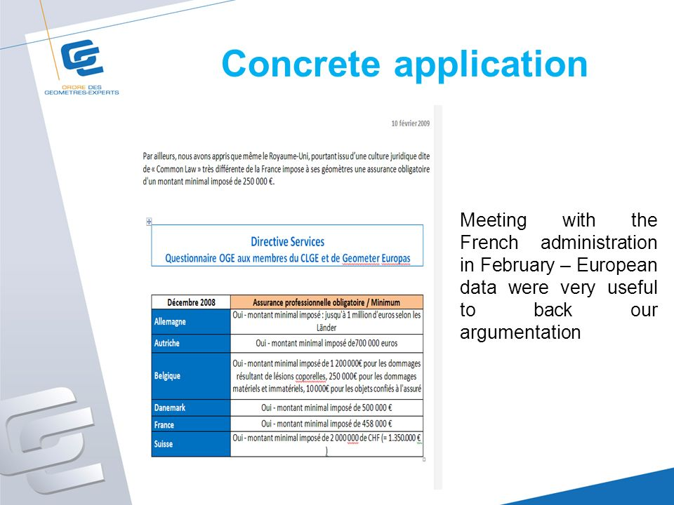 Concrete application Meeting with the French administration in February – European data were very useful to back our argumentation
