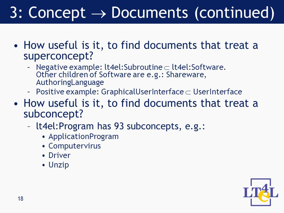 18 How useful is it, to find documents that treat a superconcept.
