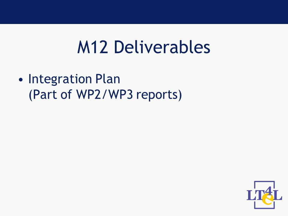 M12 Deliverables Integration Plan (Part of WP2/WP3 reports)