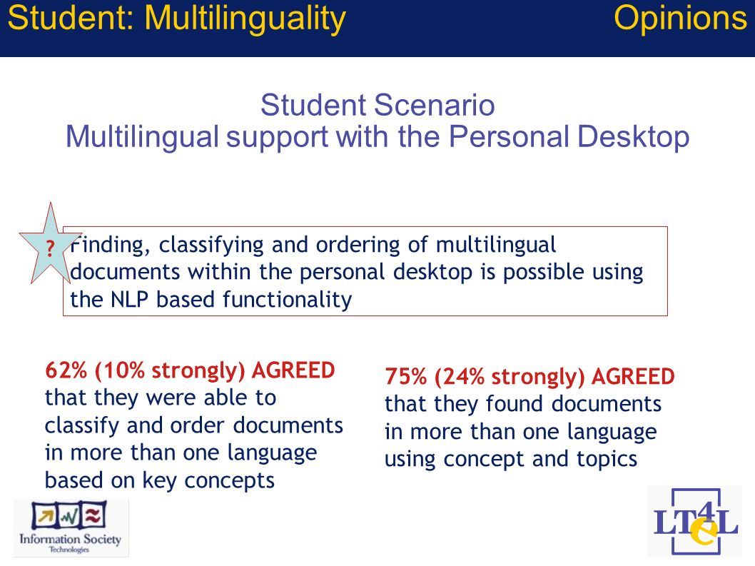 Student Scenario Multilingual support with the Personal Desktop Finding, classifying and ordering of multilingual documents within the personal deskto