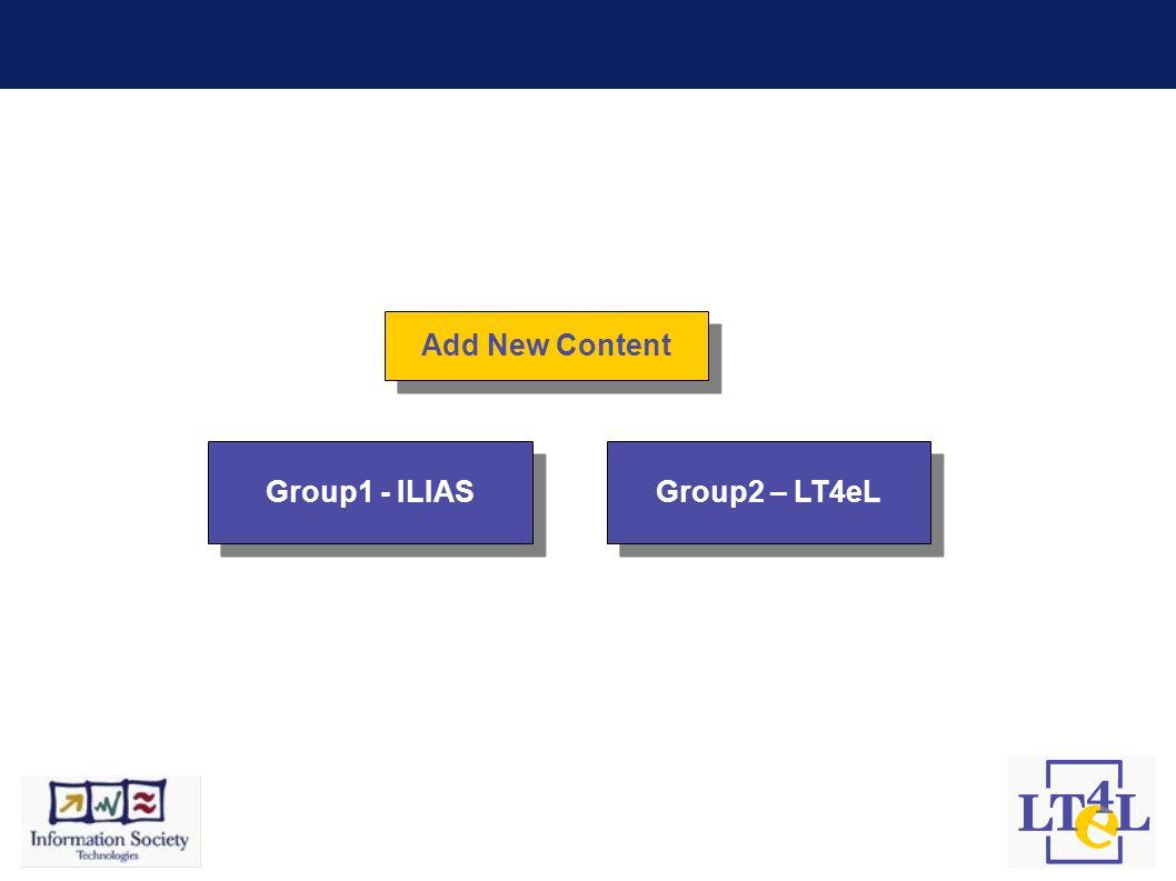 Add New Content Group1 - ILIAS Group2 – LT4eL