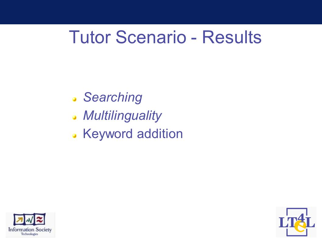 Tutor Scenario - Results Searching Multilinguality Keyword addition
