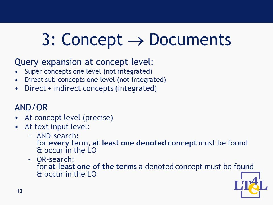 13 Query expansion at concept level: Super concepts one level (not integrated) Direct sub concepts one level (not integrated) Direct + indirect concep