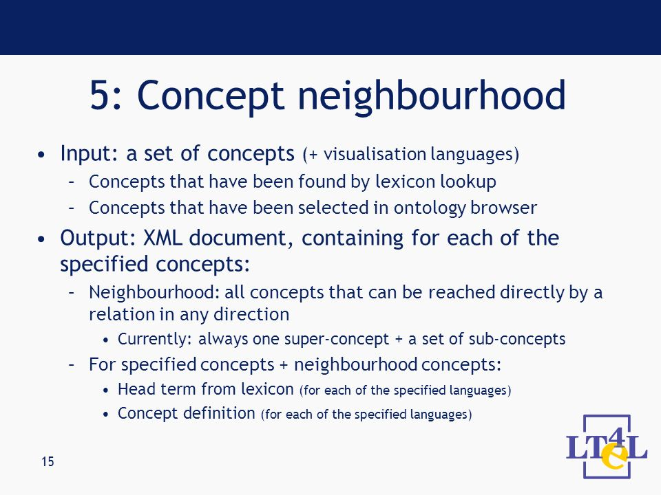 15 Input: a set of concepts (+ visualisation languages) –Concepts that have been found by lexicon lookup –Concepts that have been selected in ontology browser Output: XML document, containing for each of the specified concepts: –Neighbourhood: all concepts that can be reached directly by a relation in any direction Currently: always one super-concept + a set of sub-concepts –For specified concepts + neighbourhood concepts: Head term from lexicon (for each of the specified languages) Concept definition (for each of the specified languages) 5: Concept neighbourhood