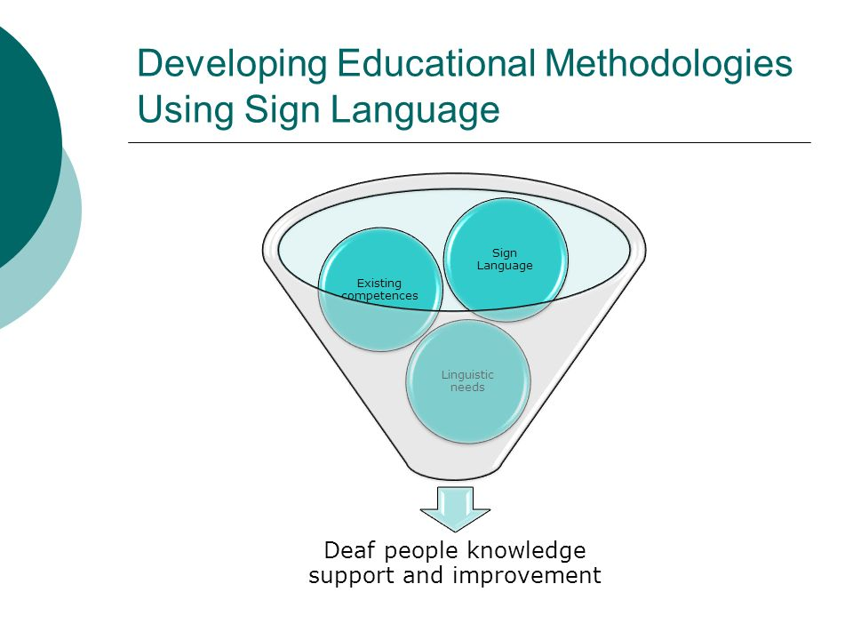 Developing Educational Methodologies Using Sign Language Deaf people knowledge support and improvement Linguistic needs Existing competences Sign Lang