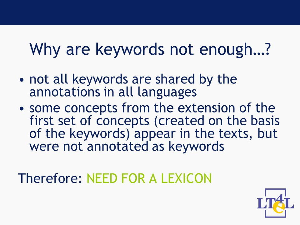 Why are keywords not enough….