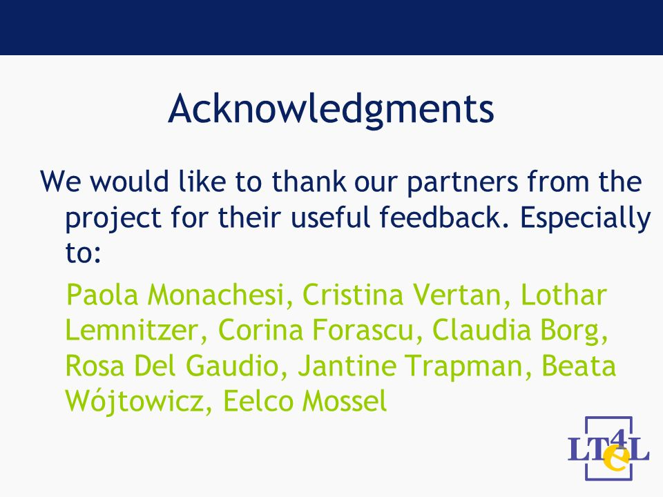 Acknowledgments We would like to thank our partners from the project for their useful feedback.