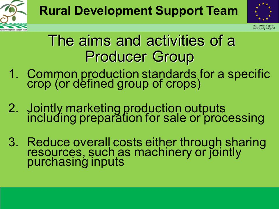 Rural Development Support Team EU Turkish Cypriot community support The aims and activities of a Producer Group The aims and activities of a Producer Group 1.Common production standards for a specific crop (or defined group of crops) 2.Jointly marketing production outputs including preparation for sale or processing 3.Reduce overall costs either through sharing resources, such as machinery or jointly purchasing inputs