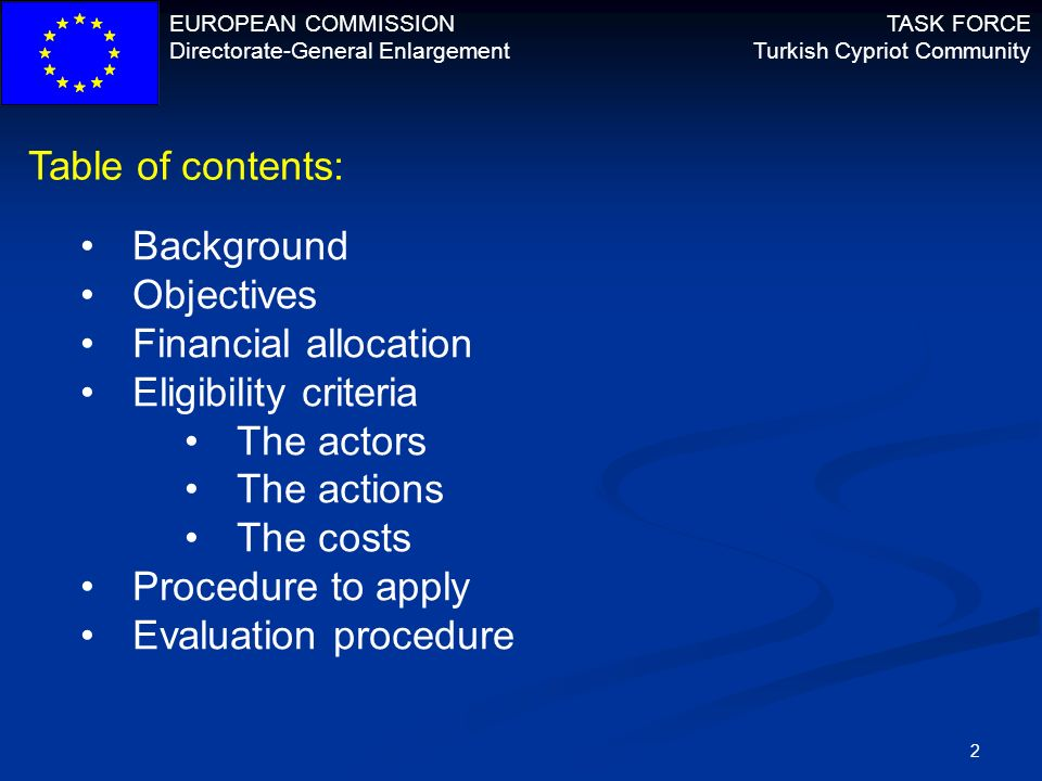 EUROPEAN COMMISSION Directorate-General Enlargement TASK FORCE Turkish Cypriot Community 13 Evaluation procedure: Concept Notes will be evaluated according to relevance and design of the action Minimum 30/50 points to continue to phase two + inside financial threshold (double the allocation per lot) Only successful applicants are invited to submit FAF FAF evaluated according to: Financial and operational capacity Effectiveness and feasibility Sustainability of the action Budget and cost-effectiveness Relevance and design score comes from CN Applications ranked and granted according to score Eligibility verification is final step prior to signature of contracts.