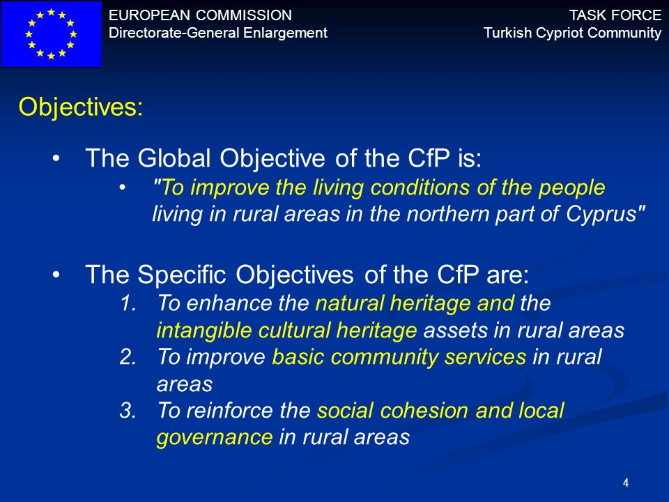 EUROPEAN COMMISSION Directorate-General Enlargement TASK FORCE Turkish Cypriot Community 5 Financial allocation: Overall indicative amount available is 3M in 3 lots 1M allocated to the North West Area 1M allocated to the Eastern Mesarya Area 1M allocated to Karpas/Karpaz Area Size of grants: Minimum 150.000 Maximum 600.000 EU Contribution per grant: Minimum 50% - Maximum 85%