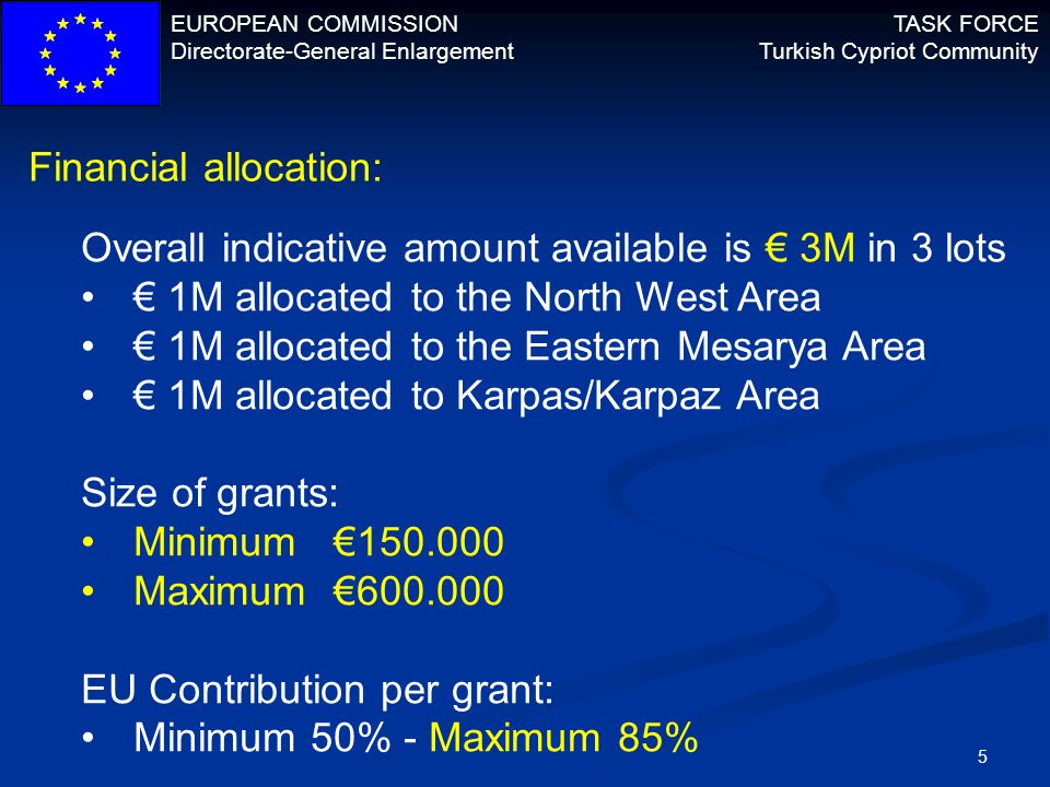 EUROPEAN COMMISSION Directorate-General Enlargement TASK FORCE Turkish Cypriot Community 5 Financial allocation: Overall indicative amount available i