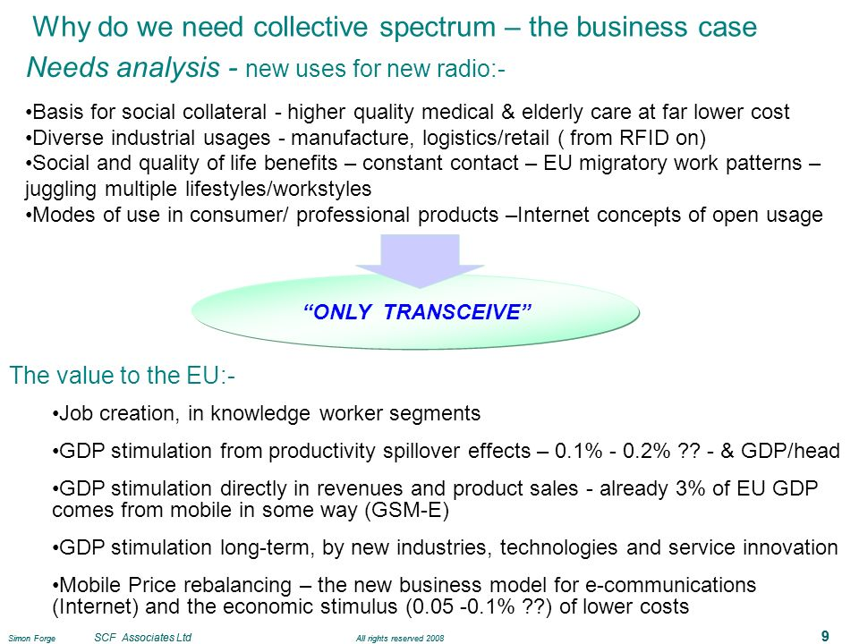 Simon Forge SCF Associates Ltd All rights reserved 2008 9 Why do we need collective spectrum – the business case Needs analysis - new uses for new rad