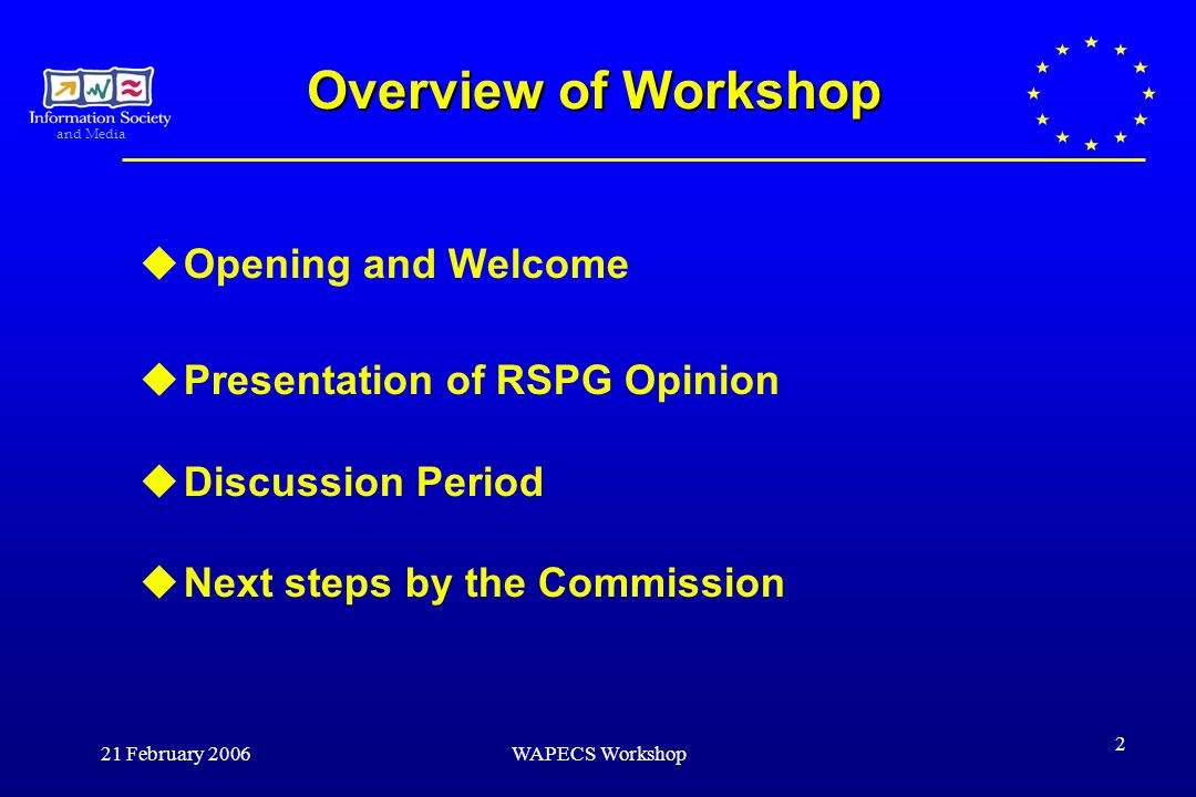 and Media 21 February 2006WAPECS Workshop 2 Overview of Workshop Opening and Welcome Presentation of RSPG Opinion Discussion Period Next steps by the Commission