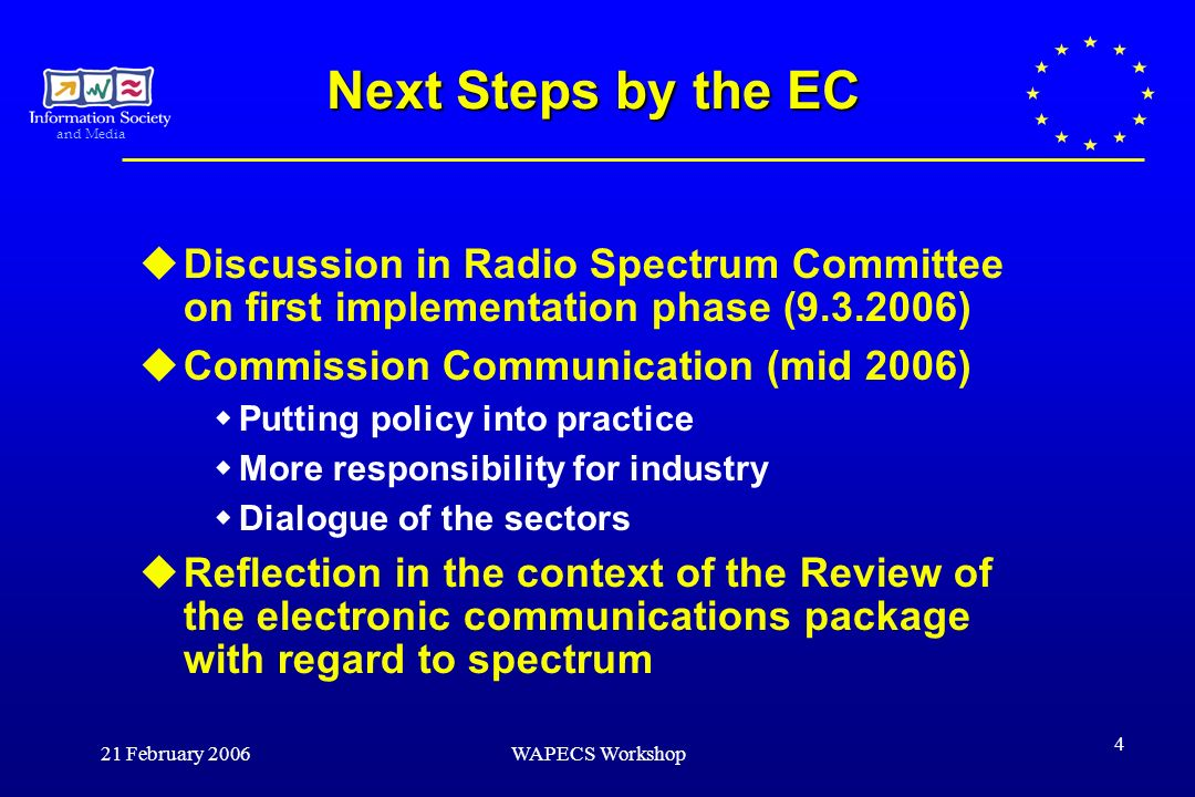 and Media 21 February 2006WAPECS Workshop 4 Next Steps by the EC Discussion in Radio Spectrum Committee on first implementation phase (9.3.2006) Commission Communication (mid 2006) Putting policy into practice More responsibility for industry Dialogue of the sectors Reflection in the context of the Review of the electronic communications package with regard to spectrum
