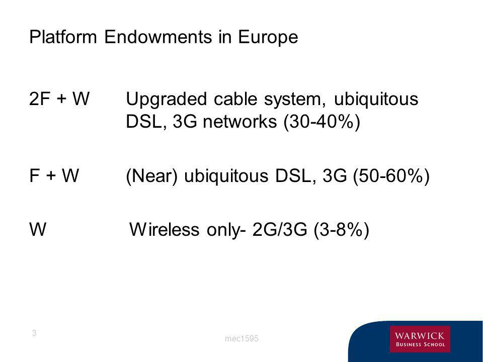 mec1595 3 Platform Endowments in Europe 2F + WUpgraded cable system, ubiquitous DSL, 3G networks (30-40%) F + W(Near) ubiquitous DSL, 3G (50-60%) W Wi