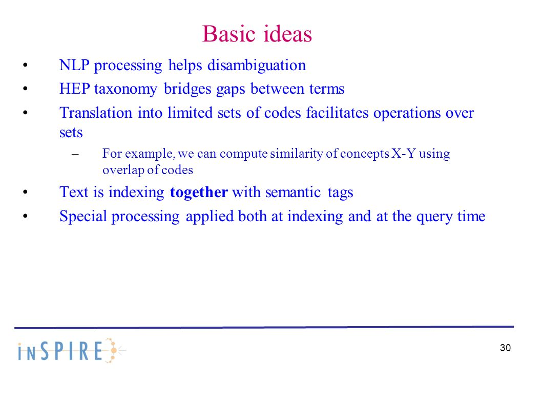 Basic ideas NLP processing helps disambiguation HEP taxonomy bridges gaps between terms Translation into limited sets of codes facilitates operations