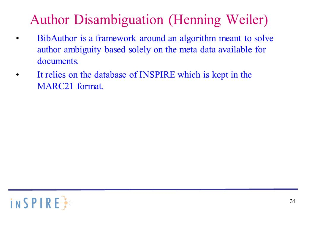 Author Disambiguation (Henning Weiler) BibAuthor is a framework around an algorithm meant to solve author ambiguity based solely on the meta data available for documents.
