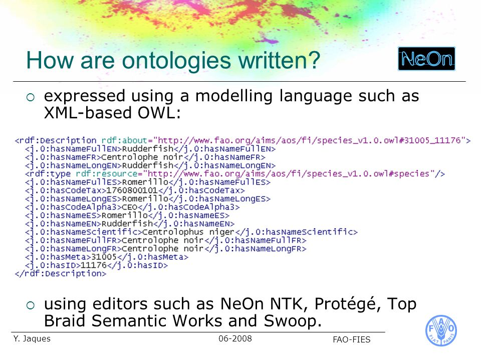 06-2008 FAO-FIES Y. Jaques How are ontologies written.