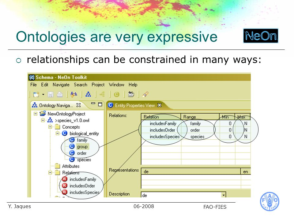 06-2008 FAO-FIES Y. Jaques Ontologies are very expressive relationships can be constrained in many ways: