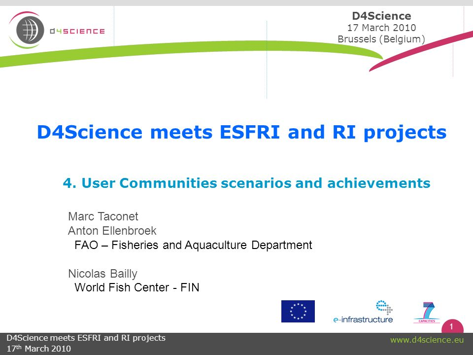 1 www.d4science.eu 4.