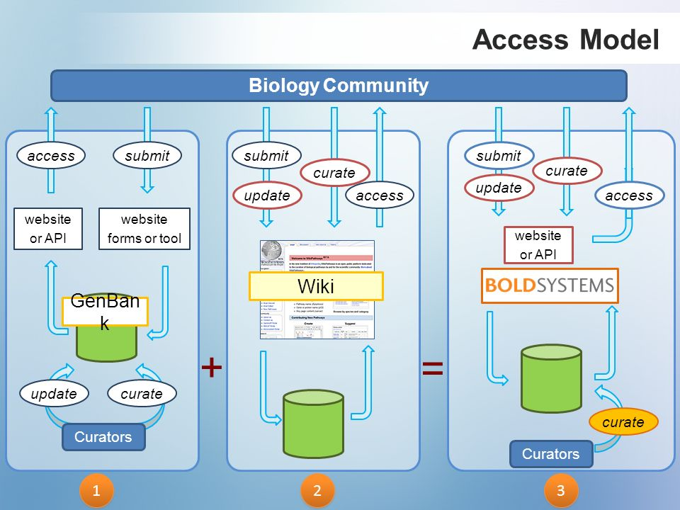 Biology Community submit curate update access Wiki 2 2 accesssubmit website forms or tool website or API Curators updatecurate 1 1 GenBan k Access Mod