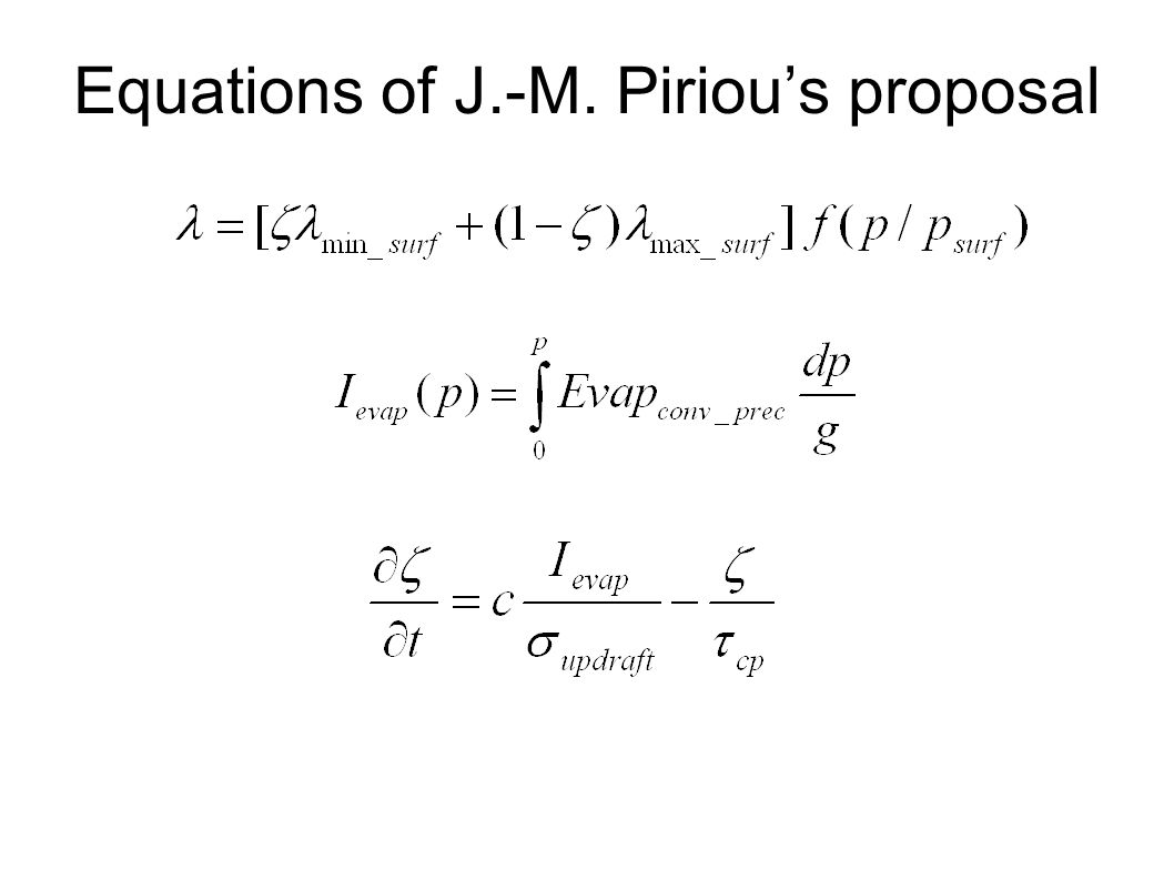 Equations of J.-M. Pirious proposal