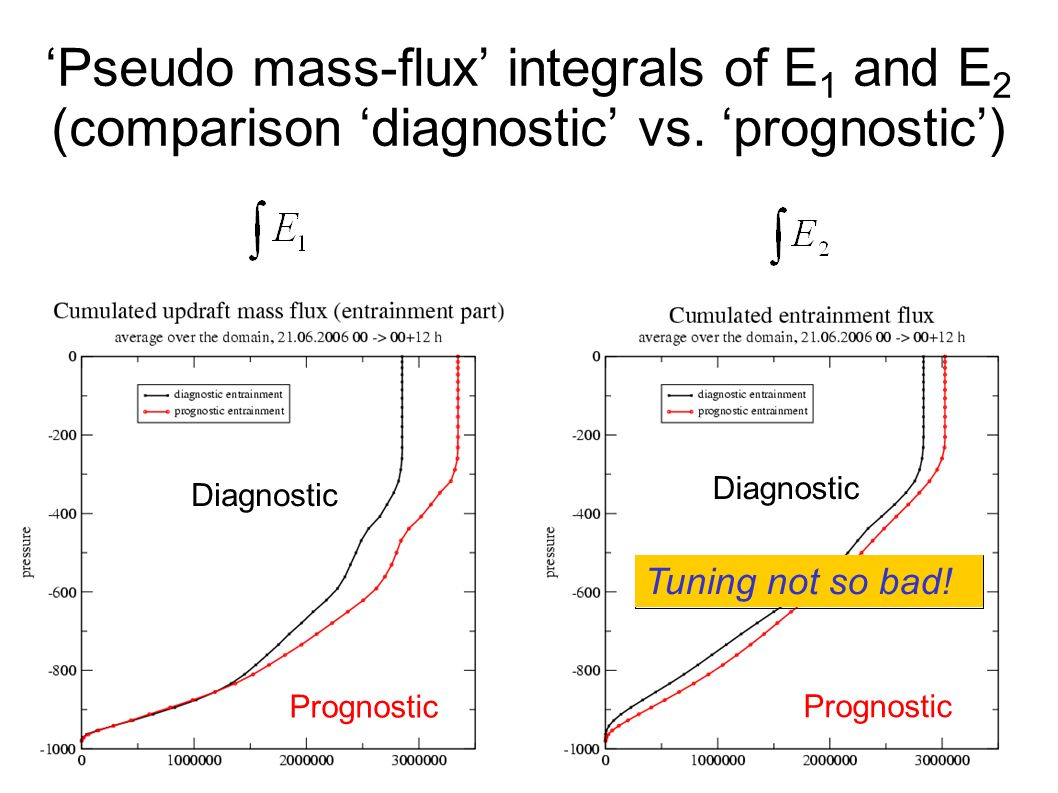 Pseudo mass-flux integrals of E 1 and E 2 (comparison diagnostic vs.