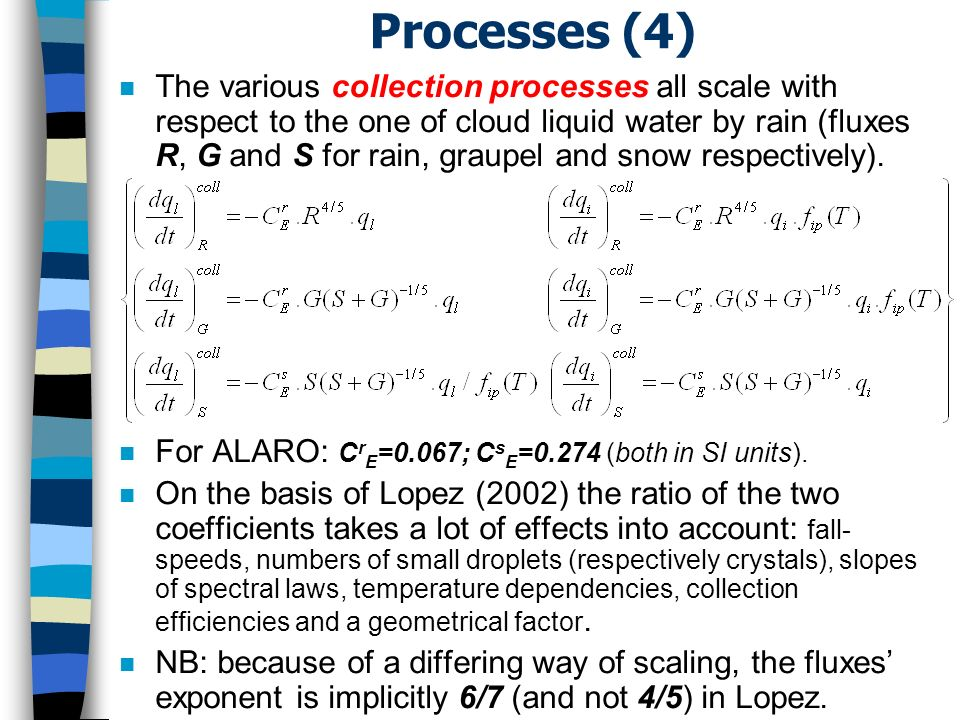 Processes (4) n The various collection processes all scale with respect to the one of cloud liquid water by rain (fluxes R, G and S for rain, graupel and snow respectively).
