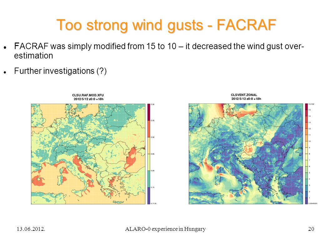 13.06.2012.ALARO-0 experience in Hungary20 Too strong wind gusts - FACRAF F ACRAF was simply modified from 15 to 10 – it decreased the wind gust over- estimation Further investigations ( )