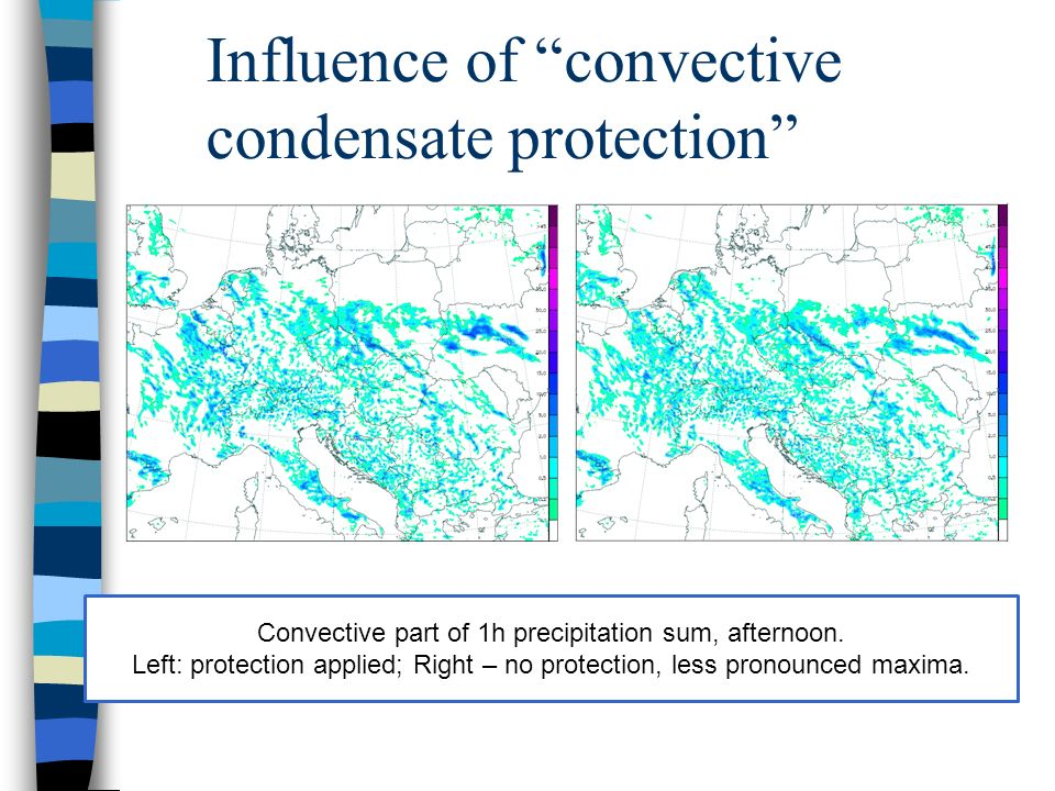 Influence of convective condensate protection Convective part of 1h precipitation sum, afternoon.