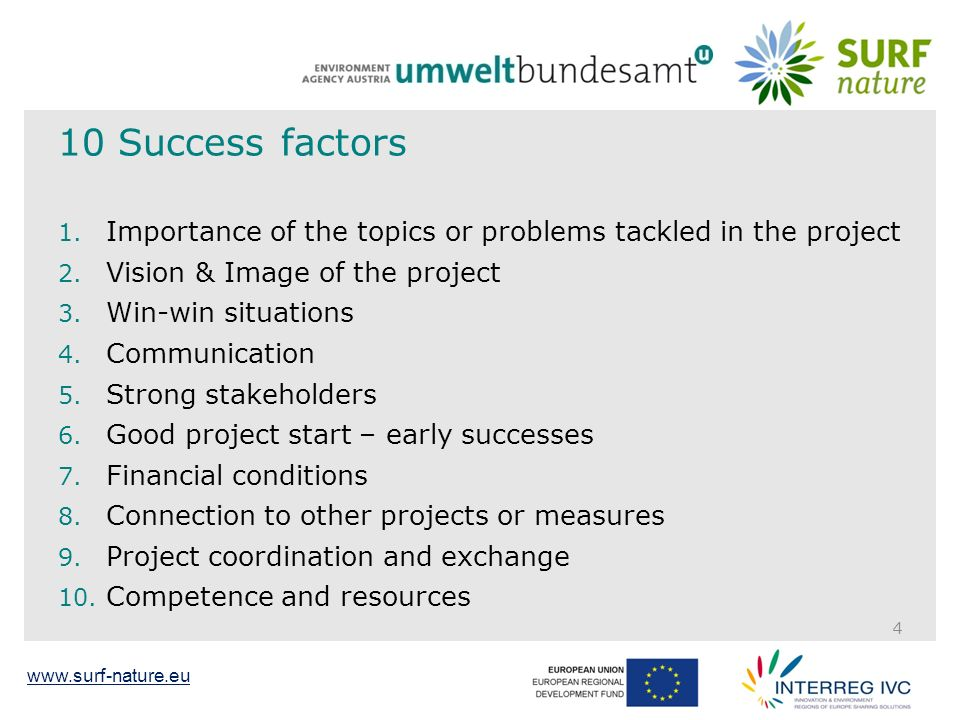 www.surf-nature.eu 10 Success factors 1.