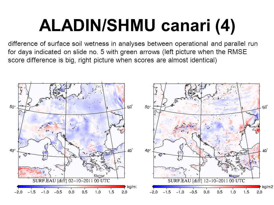 ALADIN/SHMU canari (4) difference of surface soil wetness in analyses between operational and parallel run for days indicated on slide no.