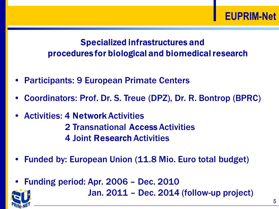 5 EUPRIM-Net Specialized infrastructures and procedures for biological and biomedical research Participants: 9 European Primate Centers Coordinators: