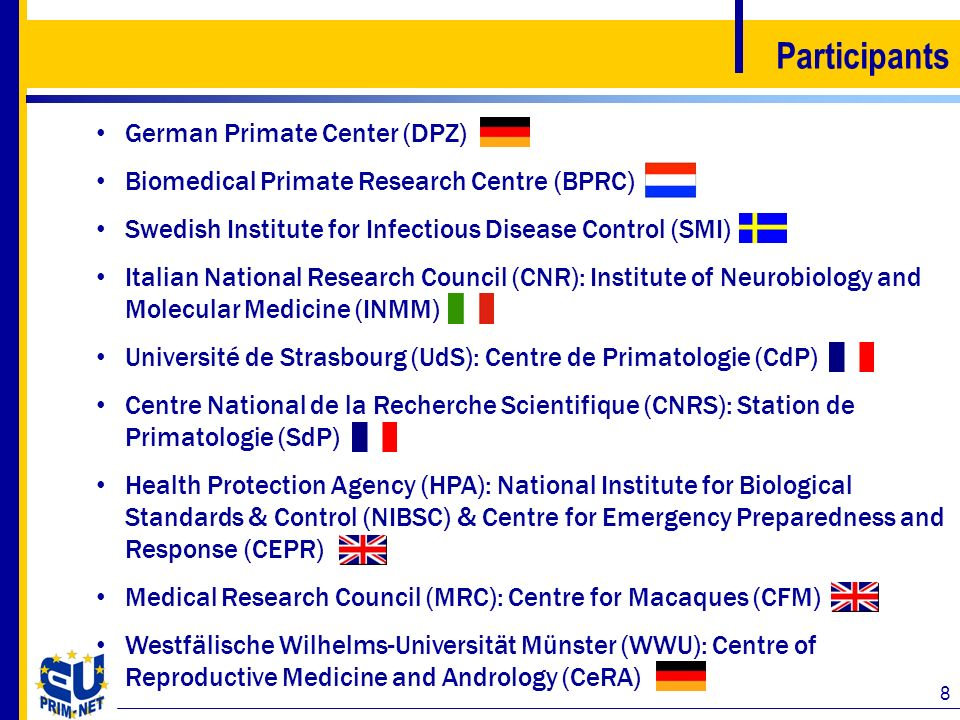 8 Participants German Primate Center (DPZ) Biomedical Primate Research Centre (BPRC) Swedish Institute for Infectious Disease Control (SMI) Italian Na