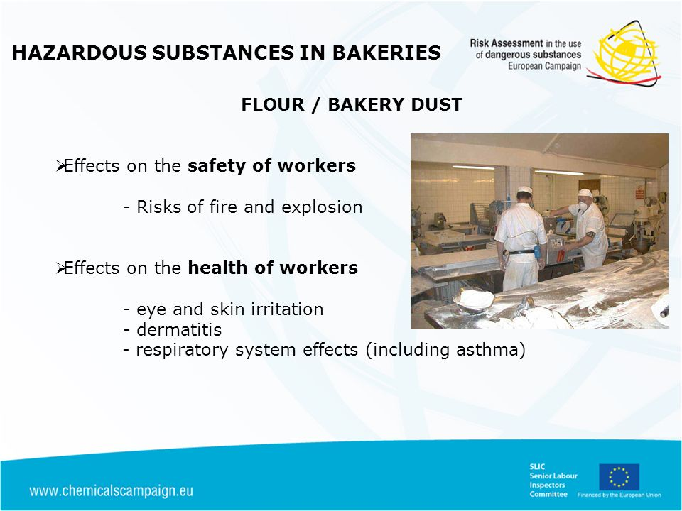 FLOUR / BAKERY DUST Effects on the safety of workers - Risks of fire and explosion Effects on the health of workers - eye and skin irritation - dermat