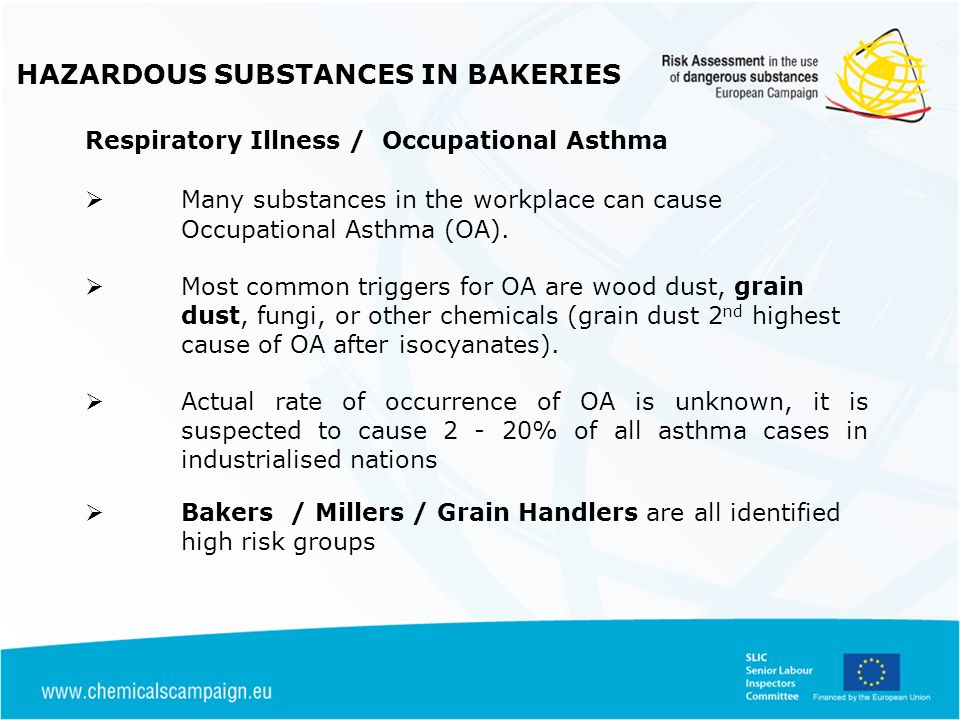 HAZARDOUS SUBSTANCES IN BAKERIES Respiratory Illness / Occupational Asthma 1 st literature reference to asthma in Bakers from 1700s Evidence of reduced trend for OA frequency overall but flour as causative agent remains static (THOR 2002- 2008) Bakers and pastry makers were the most frequently affected worker group reported to the SWORD* Flour is most important causative agent of OA in France / Finland Work related asthmatic symptoms are usually preceded by rhinitis and conjunctivitis