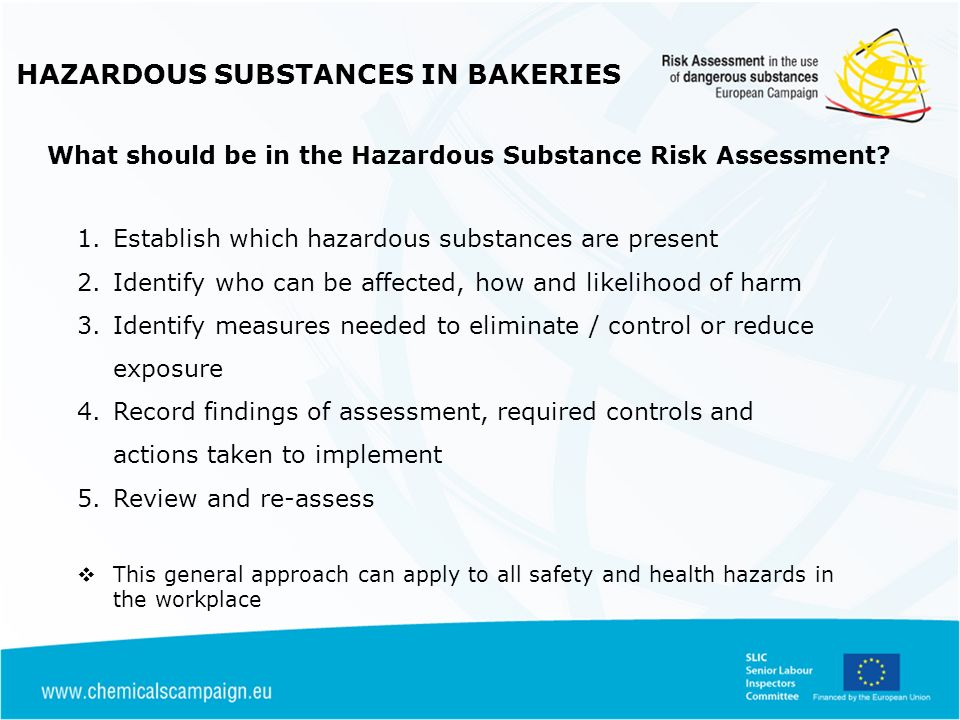 HAZARDOUS SUBSTANCES IN BAKERIES 1.Establish which hazardous substances are present 2.Identify who can be affected, how and likelihood of harm 3.Ident