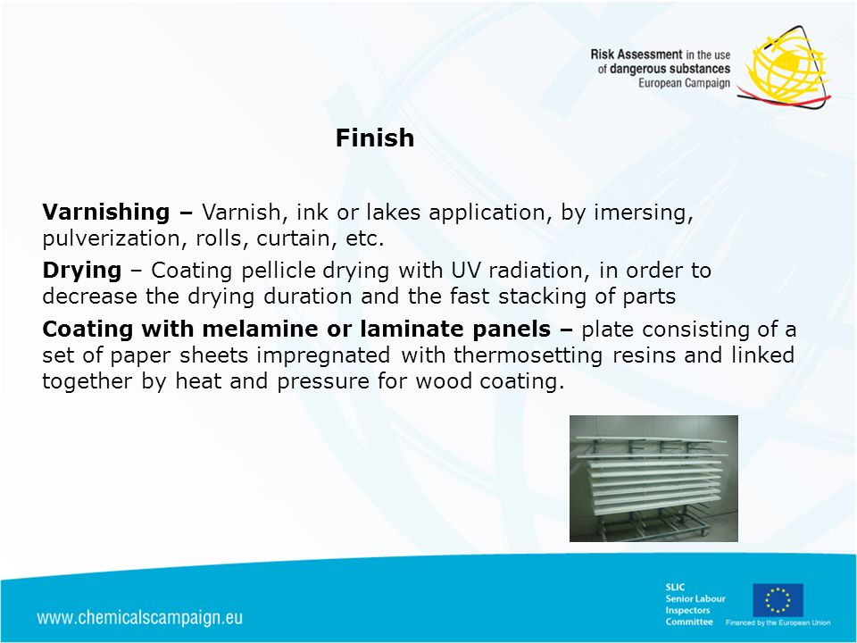 Finish Varnishing – Varnish, ink or lakes application, by imersing, pulverization, rolls, curtain, etc.
