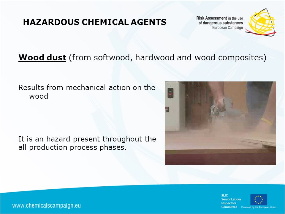 Results from mechanical action on the wood It is an hazard present throughout the all production process phases.