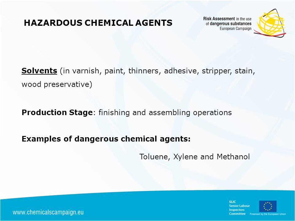 Solvents (in varnish, paint, thinners, adhesive, stripper, stain, wood preservative) Production Stage: finishing and assembling operations Examples of dangerous chemical agents: Toluene, Xylene and Methanol HAZARDOUS CHEMICAL AGENTS