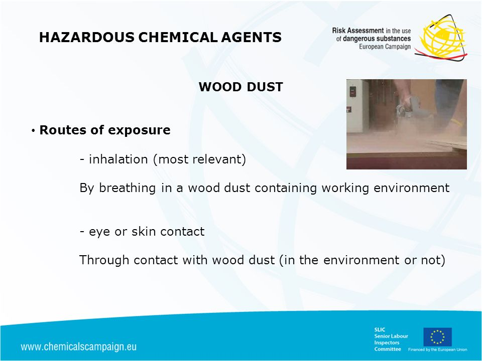 HAZARDOUS CHEMICAL AGENTS WOOD DUST Routes of exposure - inhalation (most relevant) By breathing in a wood dust containing working environment - eye or skin contact Through contact with wood dust (in the environment or not)