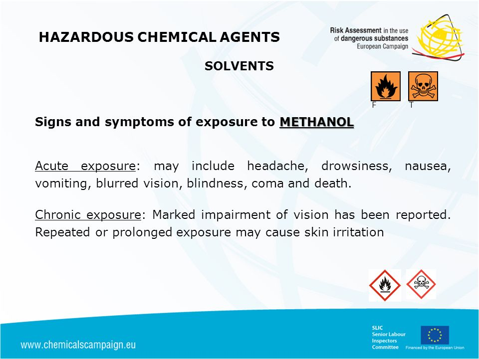 HAZARDOUS CHEMICAL AGENTS METHANOL Signs and symptoms of exposure to METHANOL Acute exposure: may include headache, drowsiness, nausea, vomiting, blurred vision, blindness, coma and death.