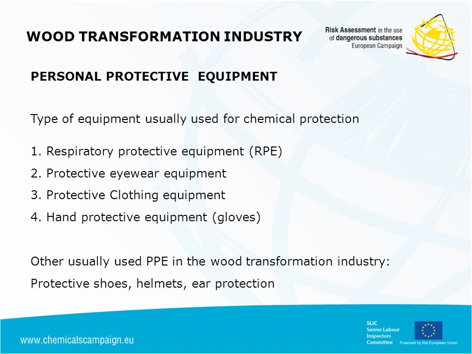 Type of equipment usually used for chemical protection 1.