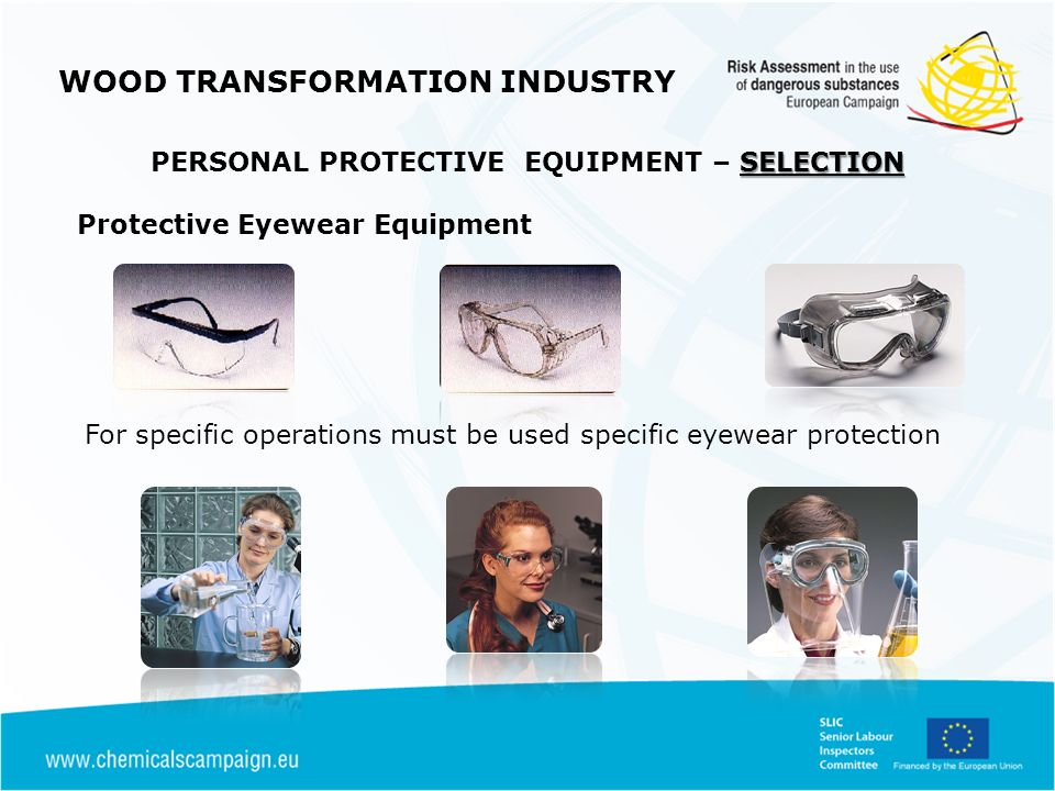 WOOD TRANSFORMATION INDUSTRY SELECTION PERSONAL PROTECTIVE EQUIPMENT – SELECTION Protective Eyewear Equipment For specific operations must be used specific eyewear protection
