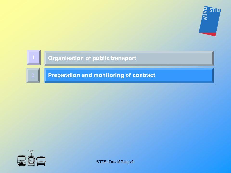 STIB- David Rispoli 2 Preparation and monitoring of contract 1 Organisation of public transport