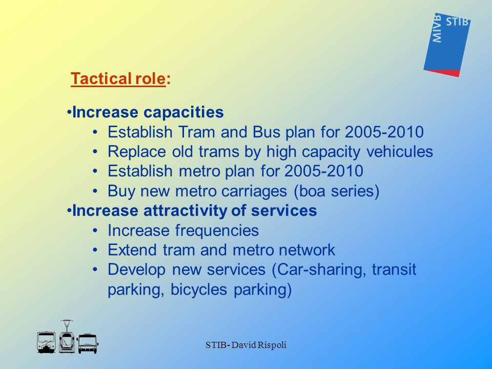 STIB- David Rispoli Increase capacities Establish Tram and Bus plan for 2005-2010 Replace old trams by high capacity vehicules Establish metro plan fo