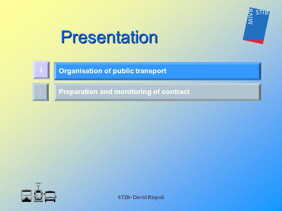 STIB- David Rispoli Presentation 2 Preparation and monitoring of contract 1 Organisation of public transport