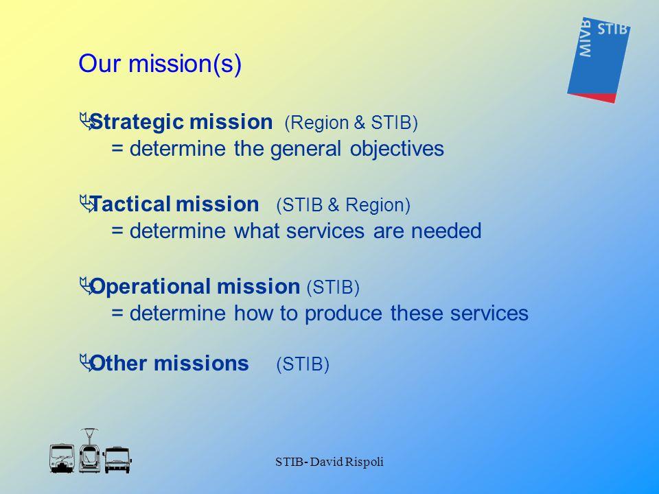 STIB- David Rispoli Strategic mission (Region & STIB) = determine the general objectives Tactical mission (STIB & Region) = determine what services ar
