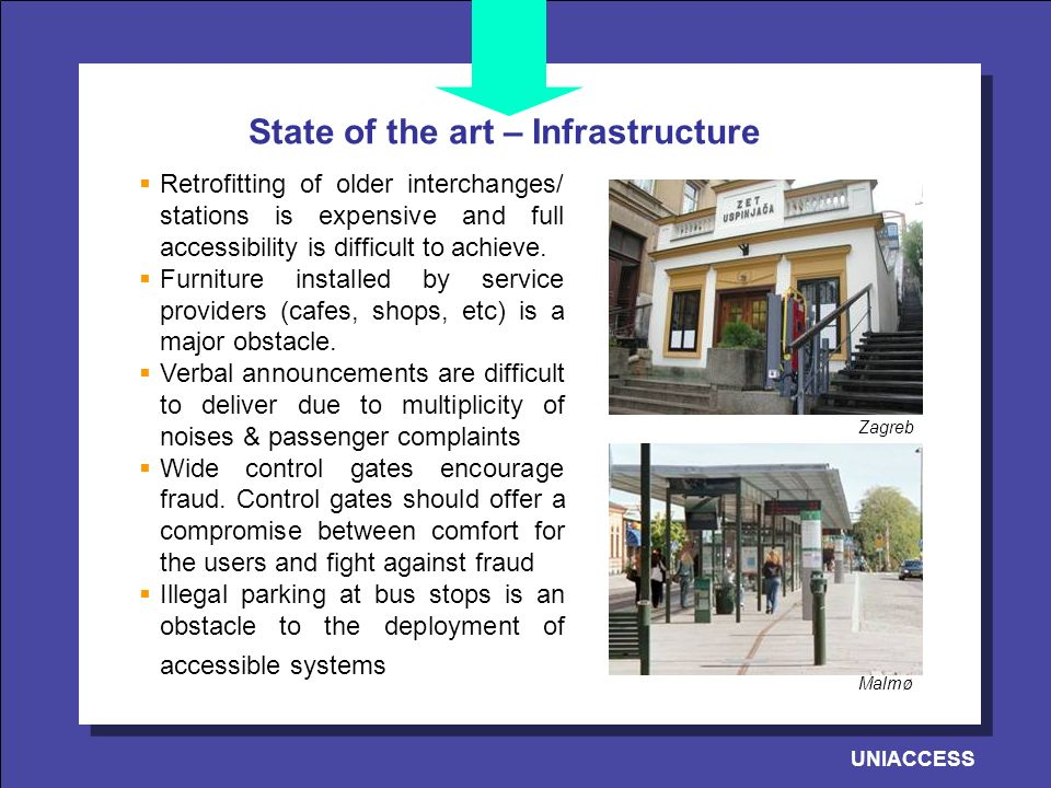 UNIACCESS State of the art – Infrastructure Retrofitting of older interchanges/ stations is expensive and full accessibility is difficult to achieve.
