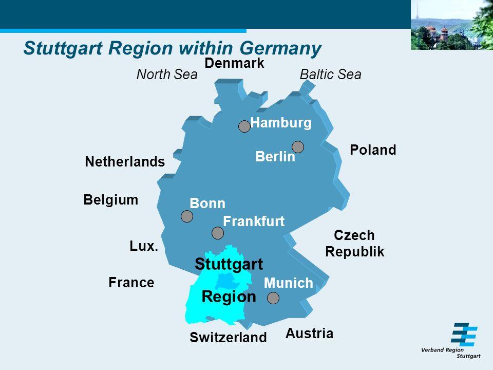 Stuttgart Region within Germany France Switzerland Austria Belgium Netherlands Czech Republik Poland Denmark Lux.